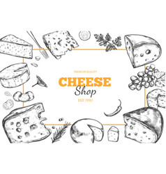 Cheese collection hand drawn 4 vector