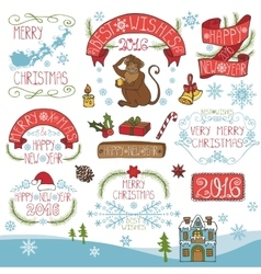 ChristmasNew Year 2016 decorationlabels kit vector image