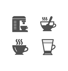 coffee coffee machine and tea cup icons latte vector image