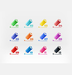 color crayons with digits inforgaphic bullets vector image
