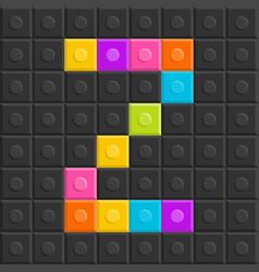 colorful brick block letter z flat design vector image