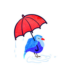 Colorful cute bird with umbrella vector