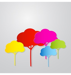 Colorful Trees Cut From Paper on Grey Backgr vector image