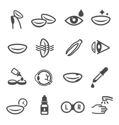 contact lenses use linear icons set vector image