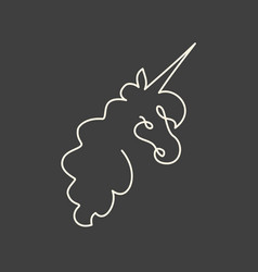 Continuous line art of unicorn head vector
