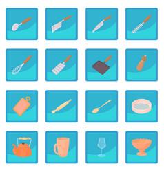 Cookware icon blue app vector
