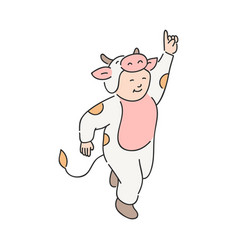 cute child in festive costume of cow isolated on vector image