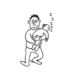 dad is holding his sleeping baby outlined cartoon vector image