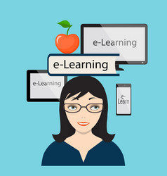E-learning with girl and computer screen vector