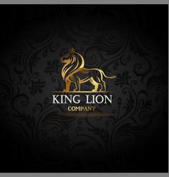 emblem with golden lion vector image