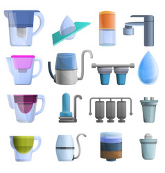 Filter water icons set cartoon style vector