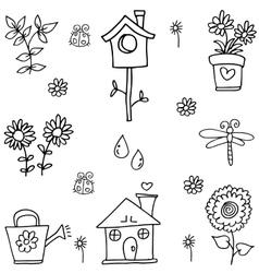 Flower set spring of doodles vector