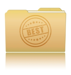 Folder with Best damaged stamp vector image