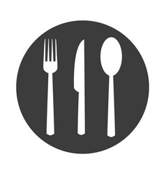 fork spoon knife in flat style on white background vector image