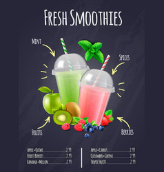 fresh smoothies realistic composition vector image