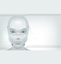 futuristic head robot android on white background vector image