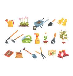 Gardeners equipment set objects needed vector