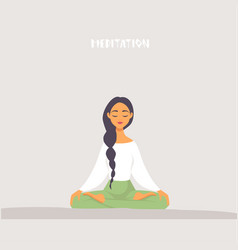 Girl meditation vector