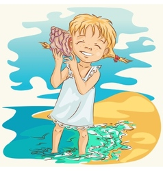 girl with seashell vector image