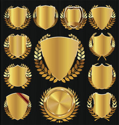Golden shield and laurel wreath collection vector image
