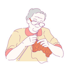 grand mother knitting isolated female character vector image