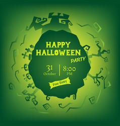 green halloween party circle gradient greeting vector image