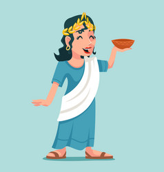 Greeting toast bowl drink woman roman female vector