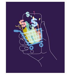 hand phone online shopping blue vector image