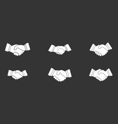 handshake icon set grey vector image