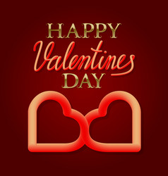 happy valentines day golden and fluid 3d text vector image