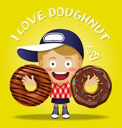 Happy woman carrying big chocolate doughnut vector