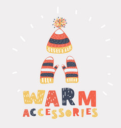hat with a pompom and mitten set warm clothing vector image