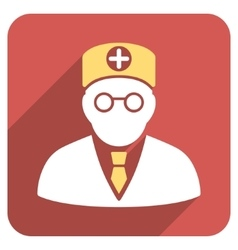 Head Physician Flat Rounded Square Icon with Long vector