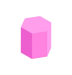 Hexagonal prism geometric figure color template vector