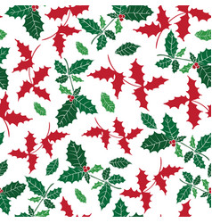 holly berry holiday seamless pattern vector image