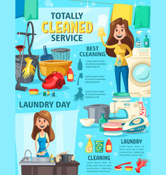 house cleaning service washing and equipment vector image