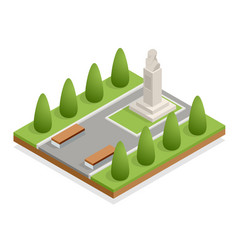 isometric monument in city park bust the vector image