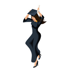 Isometry girl graduate jumping rejoices vector