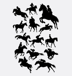 Jockey riding horse silhouettes vector