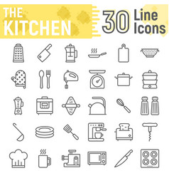 Kitchen line icon set household signs vector