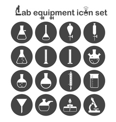 Lab equipment icon set vector image