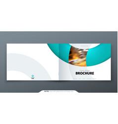 Landscape brochure design teal corporate business vector