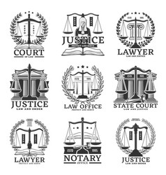Law court lawyer and notary office service icons vector