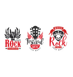legendary rock fest logo templates set rock music vector image