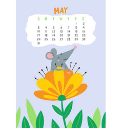 may calendar page with cute rat in blooming vector image