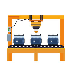 Mechanic machine with car engines vector