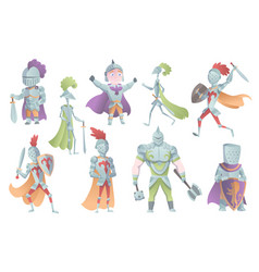 Medieval knights in full armor set of flat vector