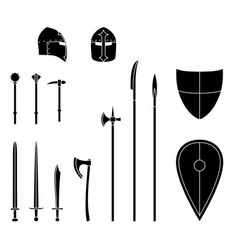 medieval weapons and armors set medieval warrior vector image