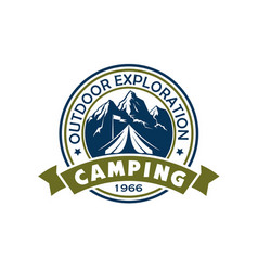 mountain camping icon tourist tent and camp flag vector image