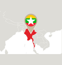 Myanmar on world map vector